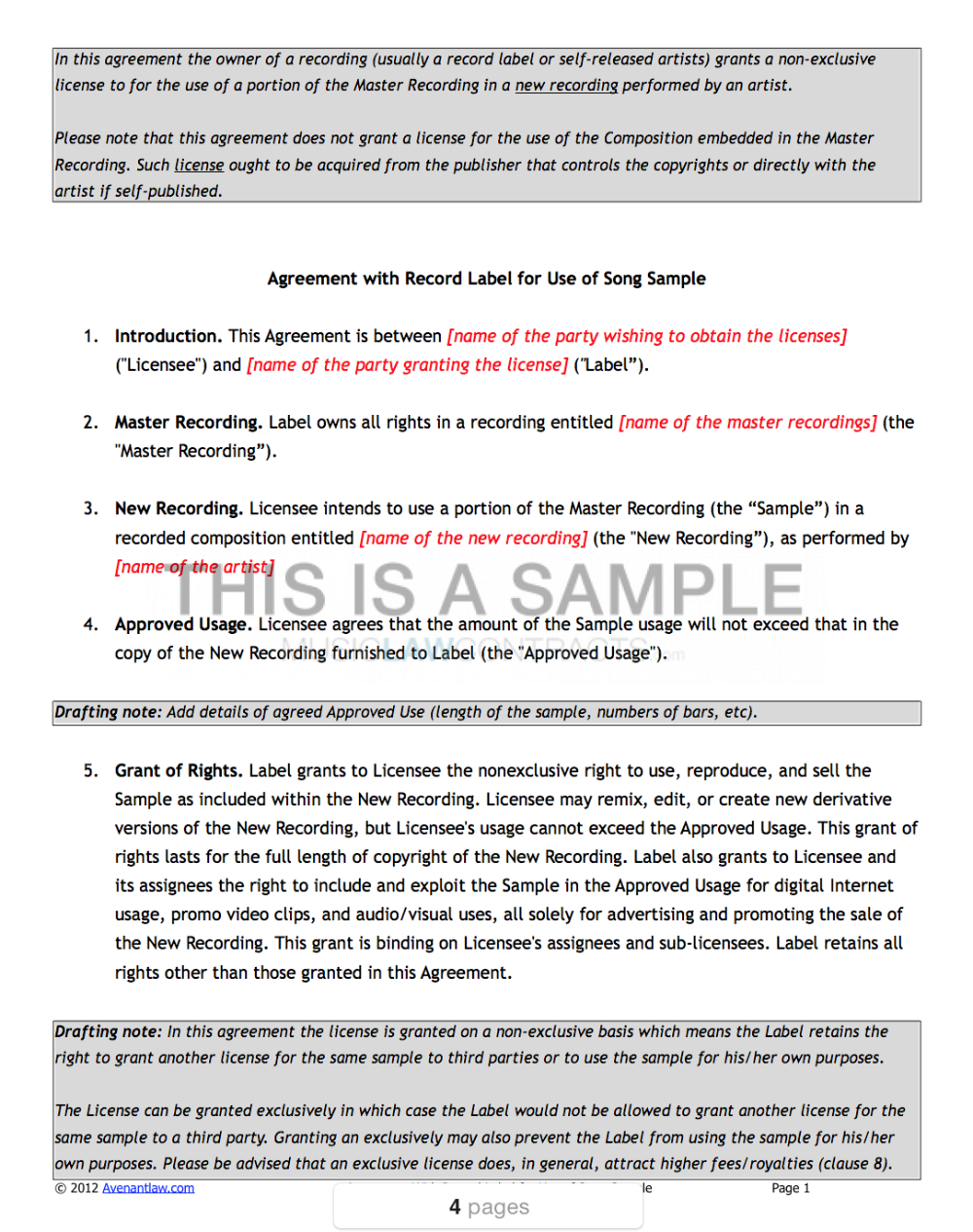 Sample Clearance Contract Templates X Inside Record Label Artist