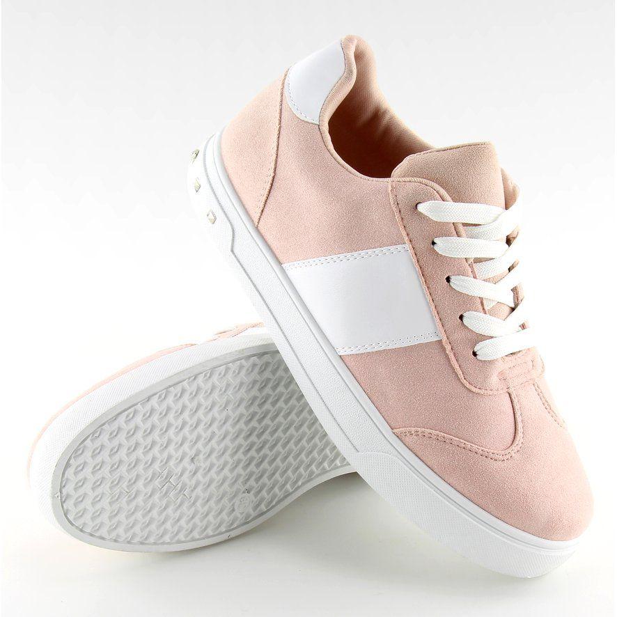 Buty Sportowe Damskie Rozowe R243 Pink Biale Sneakers Shoes Slip On Sneaker