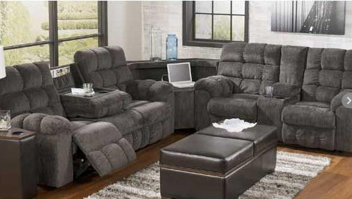 Sectional L Shaped Recliner Sofa Set With Ottoman In Grey