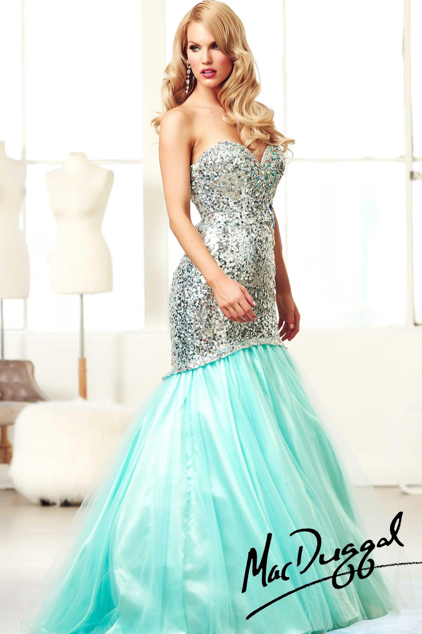 Mac Duggal 81778H Aqua Sequin Mermaid Prom Dress | Aqua, Sequins and ...