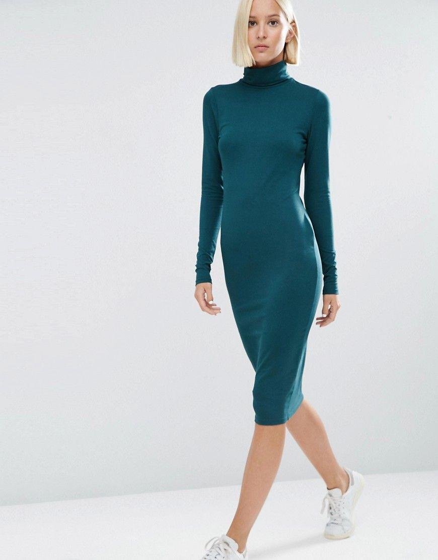 Image 1 of asos bodycon midi dress with polo neck midi