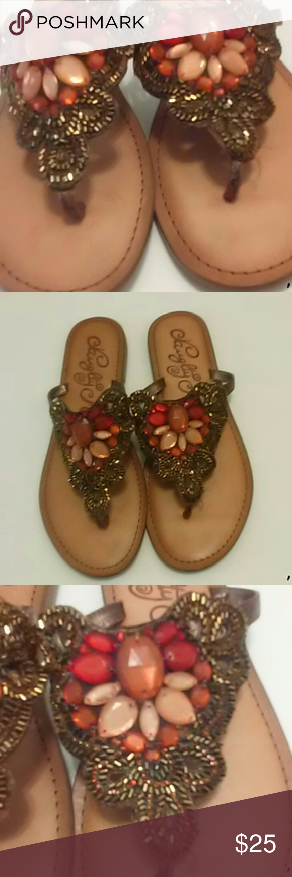 Naughty monkey size 9 women's sandals The beadwork is absolutely gorgeous on these naughty monkey women's sandals you will absolutely love them sure to go with mostly everything naughty monkey Shoes Sandals