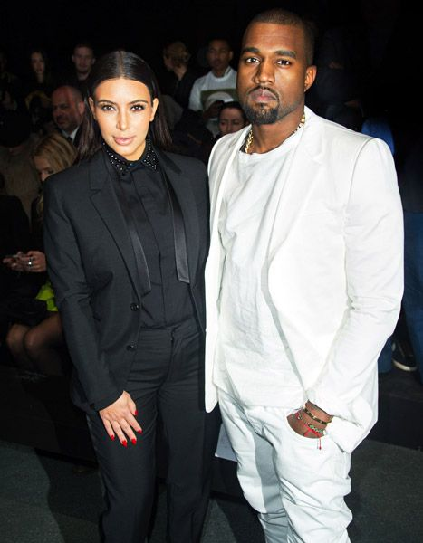 Kim Kardashian Kanye West Wear Coordinating Black And White Suits New Look Fashion Black And White Suit Fashion