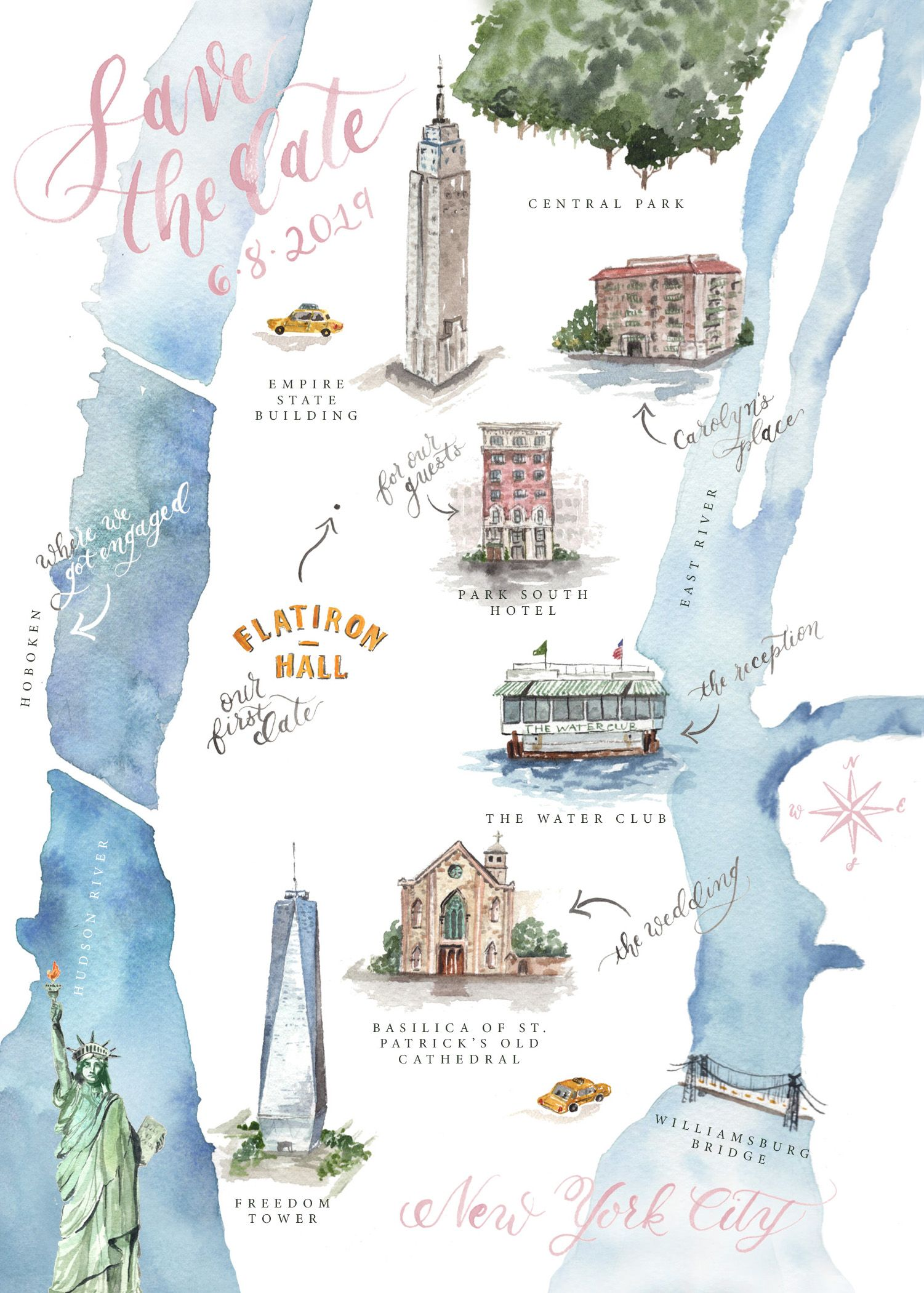 Custom Watercolor Save The Date Wedding Map Of New York City