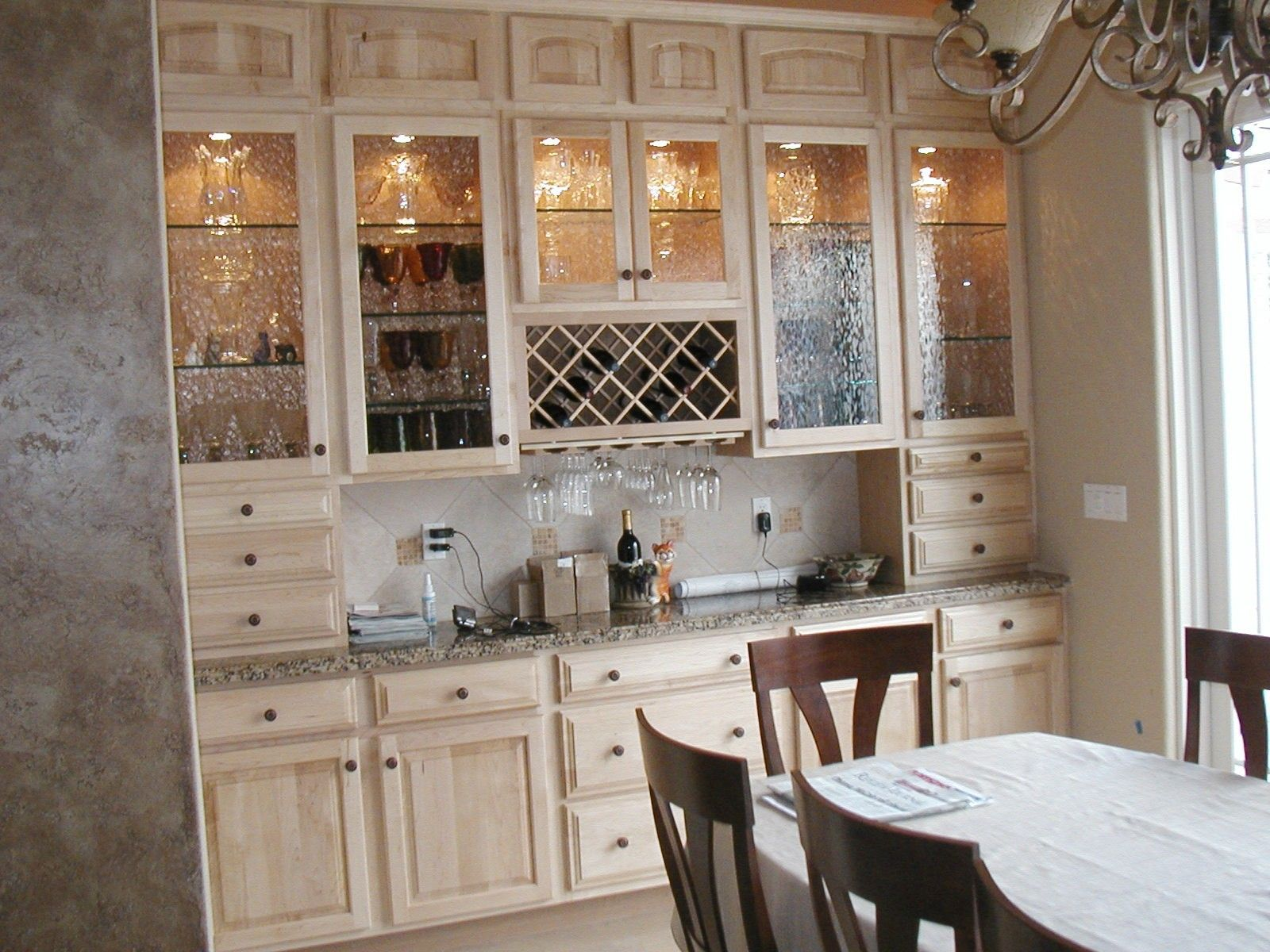 Curved Glass Kitchen Cabinet Shelves With Light Brown Wooden Frame ...