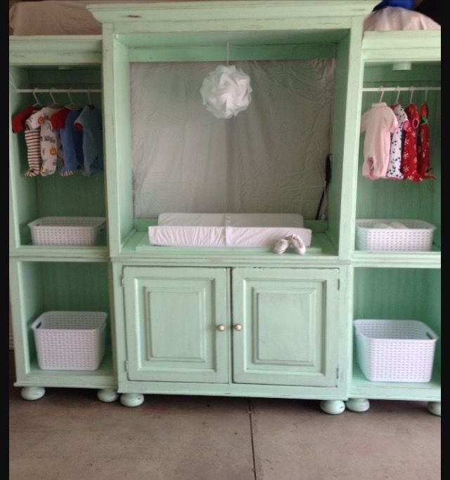 China Cabinet Upcycled Into A Beautiful Light Green Changing Table With  Side Storage Used For Baby