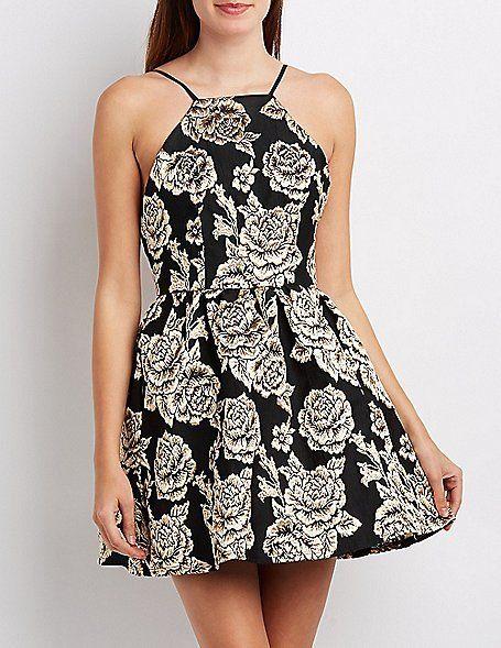 Brocade Bib Neck Backless Skater Dress
