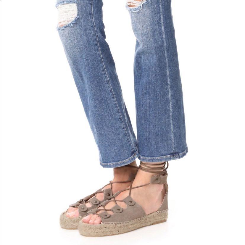 Soludos Shoes Soludos Ghillie Lace Up Espadrille Platform Sandal Color Tan Size 9 Lace Up Espadrilles Espadrille Shoes Suede Leather