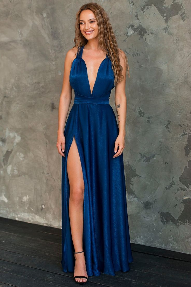 Langes blaues Mehrwegkleid für Brautjungfer