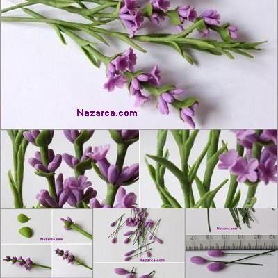 Fimo Polimer Kil Ile Lavanta çiçeği Yapimi Soğuk Porselen Hamuru