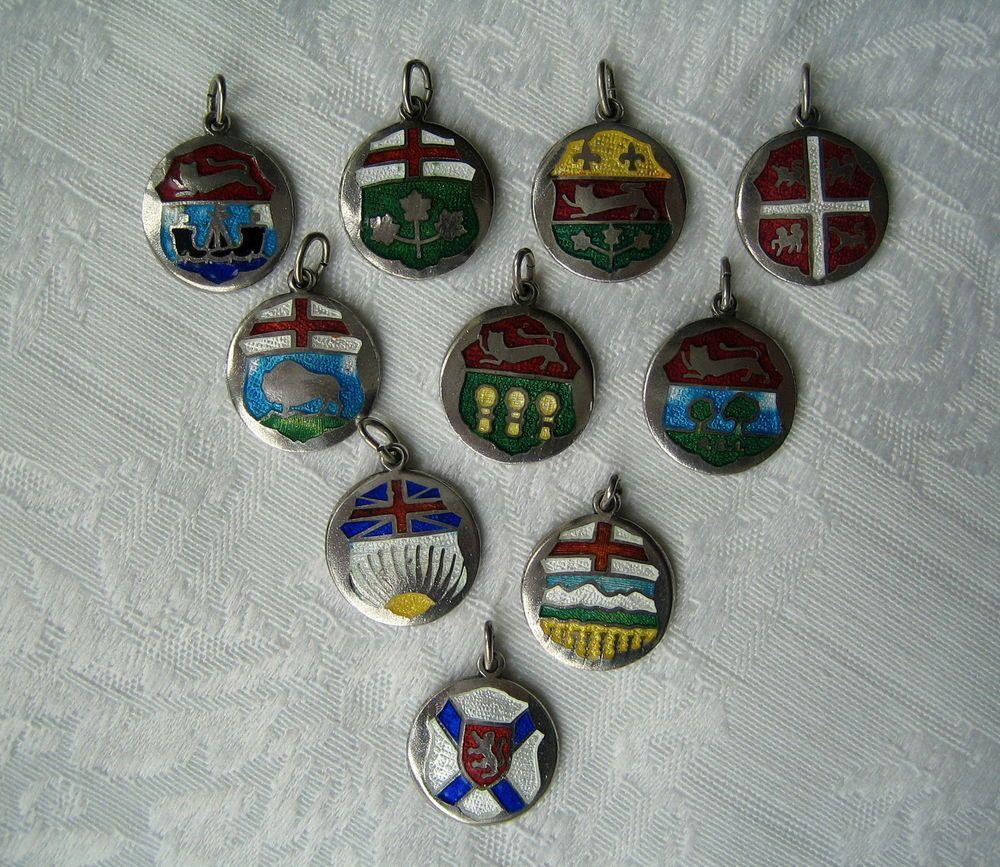 Bettelarmband Anhänger Kanada 10 Stück Silber Email