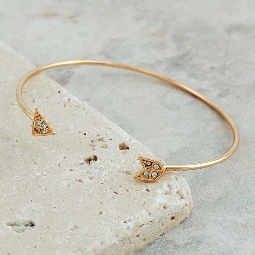 Open Cuff Bangle Rhinestone Bracelet - Arrow