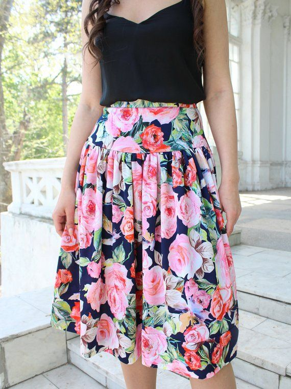 2188648895 Floral skirt, Summer skirt, Silk Satin skirt, Midi skirt, Ovesize woman  skirt