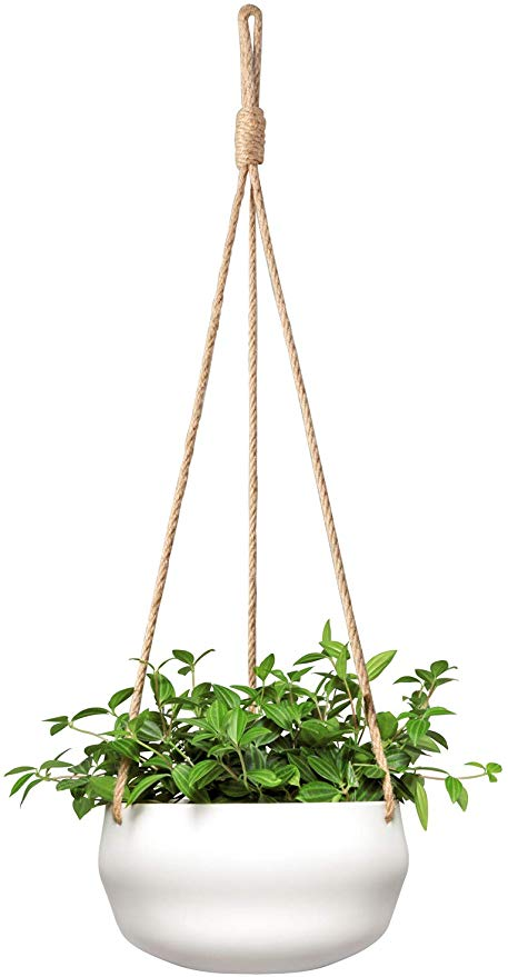 Amazon Com Mkono Modern Ceramic Hanging Planter For Indoor Plants Porcelain Hanging Plant Holder 8 Inch Geo In 2020 Hanging Plants Hanging Planters Hanging Plants Diy