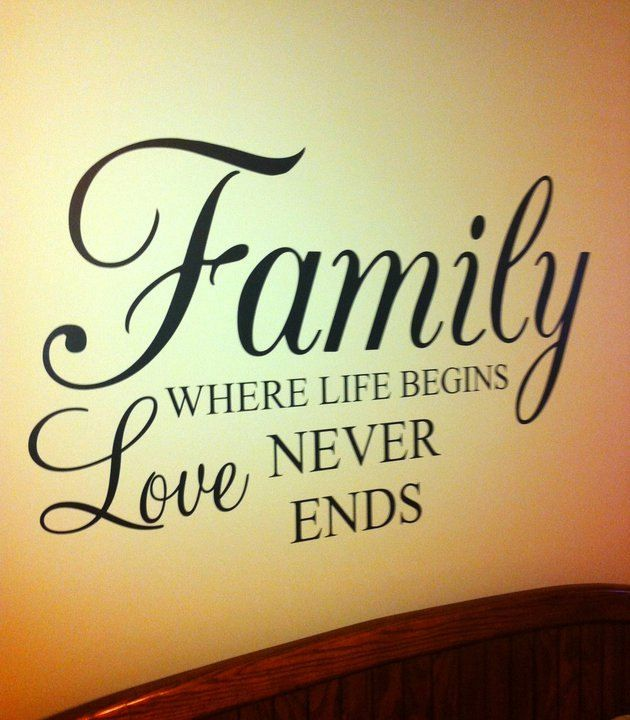 Family where Life Begins Love Never Ends 36x22 Vinyl Decal Wall Art ...