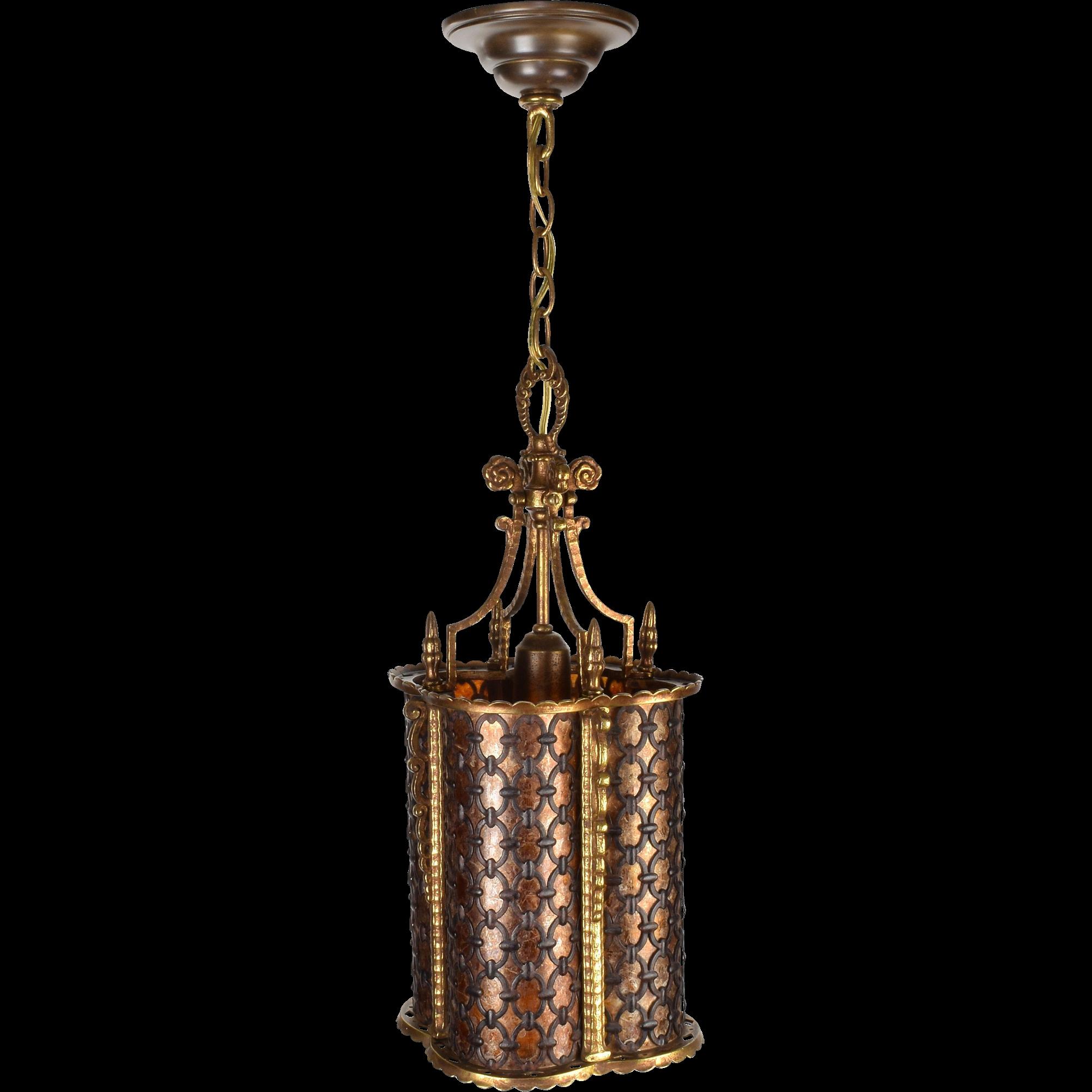 Vintage brass pendant quatrefoil light fixture with bent mica vintage brass pendant quatrefoil light fixture with bent mica arubaitofo Choice Image