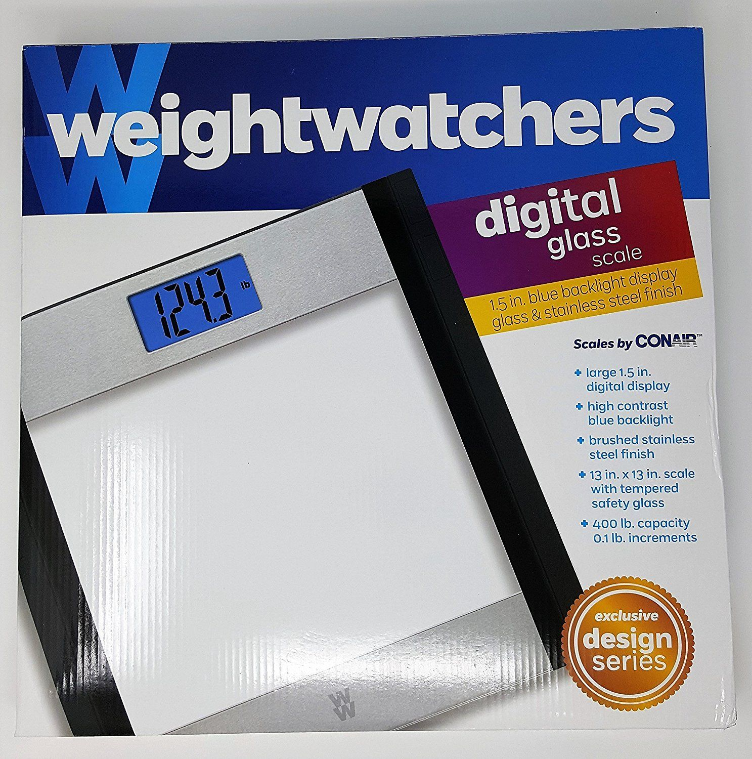 Weight Watchers Glass and Stainless Steel Designer Digital Bathroom ...