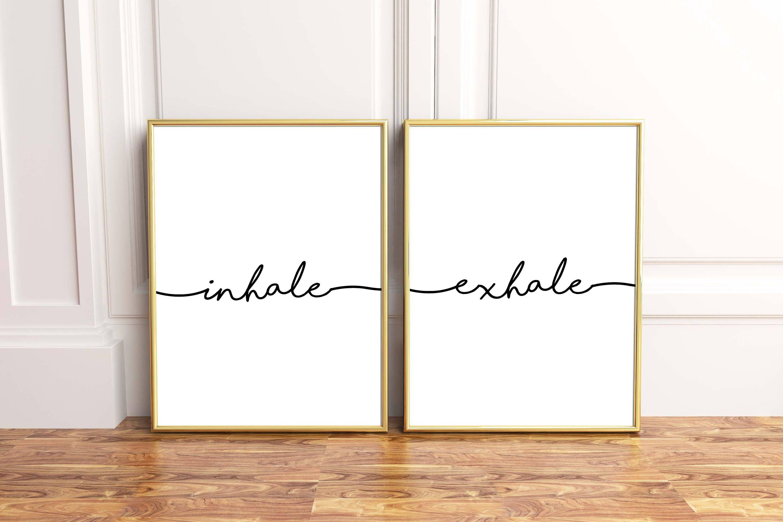 Inhale Exhale Print Printable Yoga Pilates Poster Inspiration Breathe Wall Art