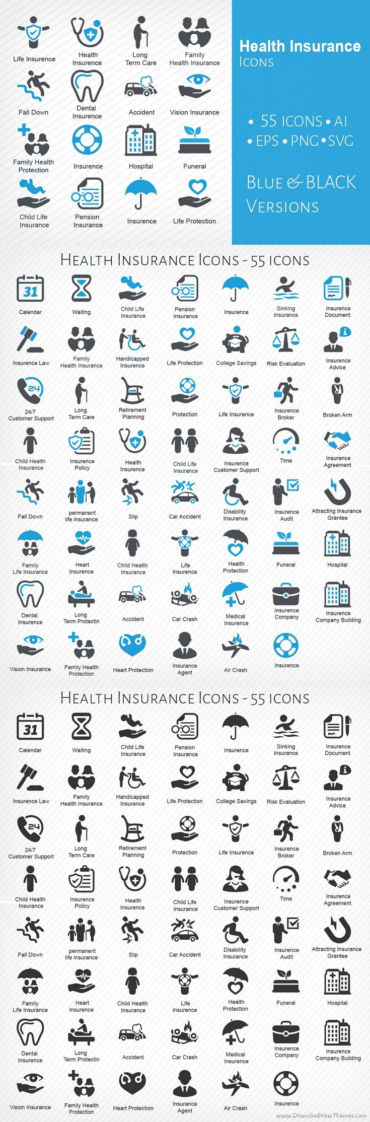 55 Health #Insurance Icons in blue and black version fully editable #graphics #icons #vector download now➩ https://creativemarket.com/Bismillah_bd/909289-Health-Insurance-Icons?u=Datasata