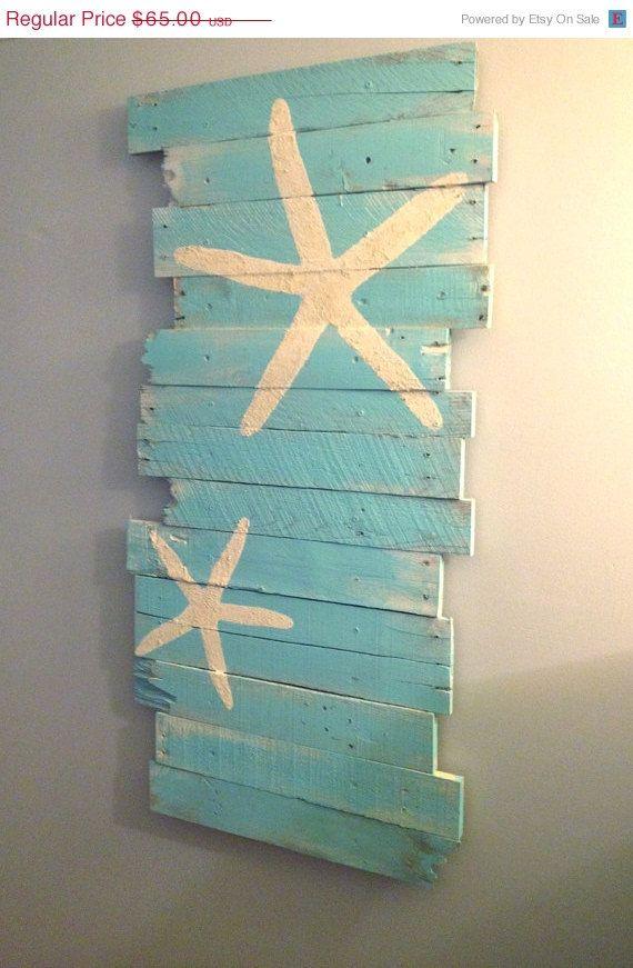 20 Off Beach And Starfish Reclaimed Wood 24 X 43 By Woodburycreek