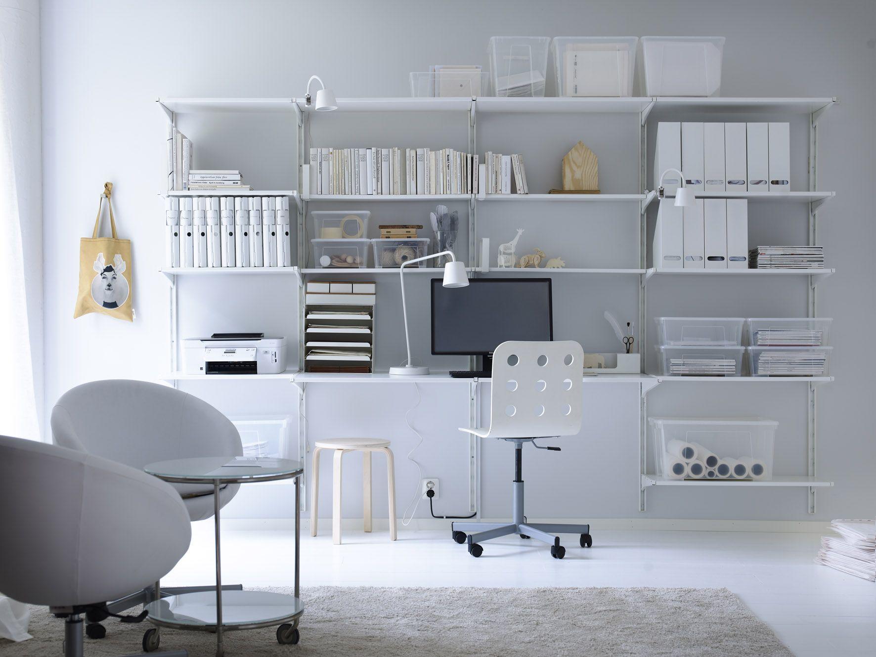 Werkplek met opbergsysteem algot van ikea home office library