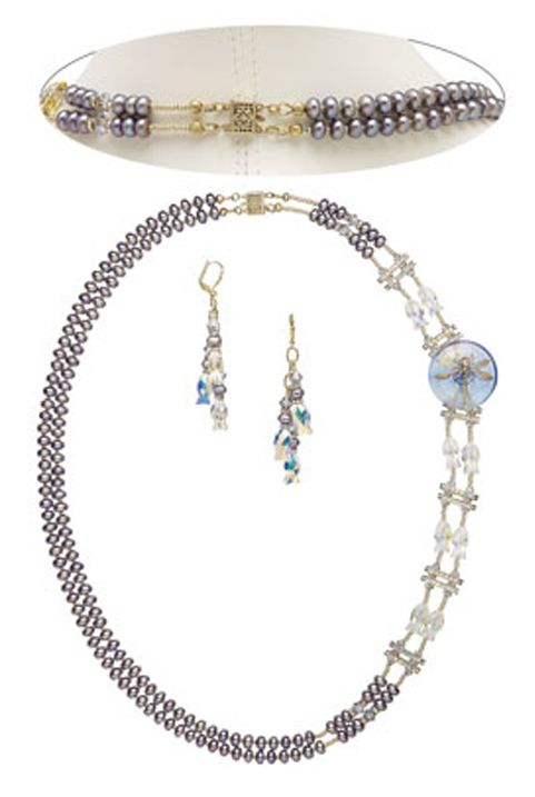 Double-Strand Necklace and Earring Set with Czech Glass and Brass Button, Cultured Freshwater Pearls and SWAROVSKI ELEMENTS