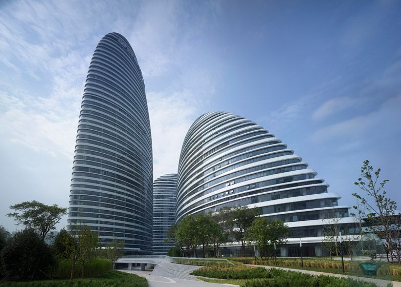 zaha hadid completes pebble shaped wangjing soho towers in beijing architecture design. Black Bedroom Furniture Sets. Home Design Ideas