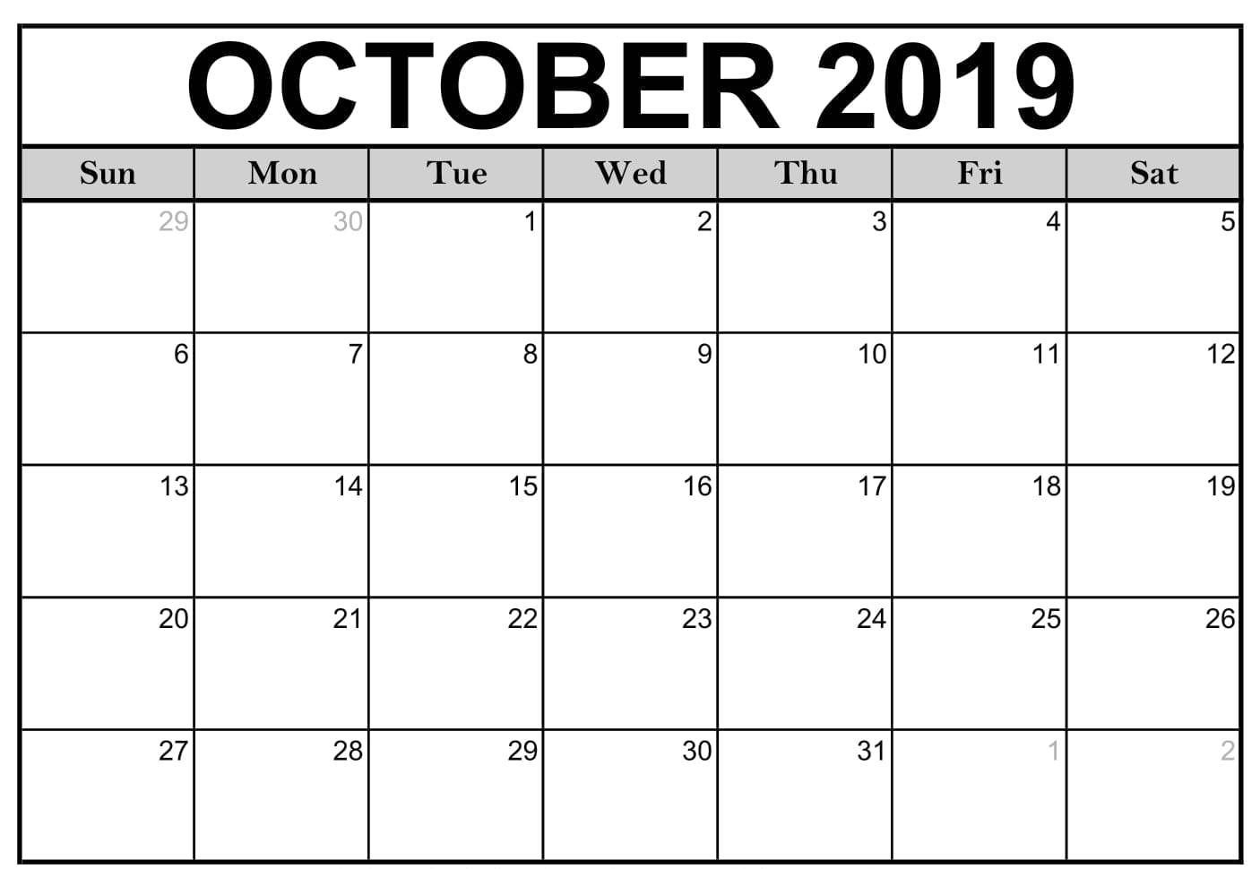 Printable Calendar For October 2019 Blank Template Download