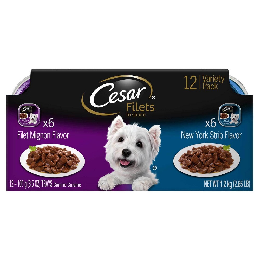 Cesar Gourmet Filets Filet Mignon & New York Strip Flavor Wet Dog Food - 12ct Variety Pack