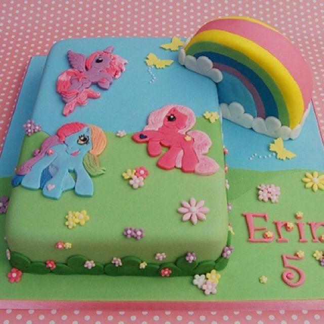 Fondant ponyrainbow cake Pasteles soados Pinterest Fondant