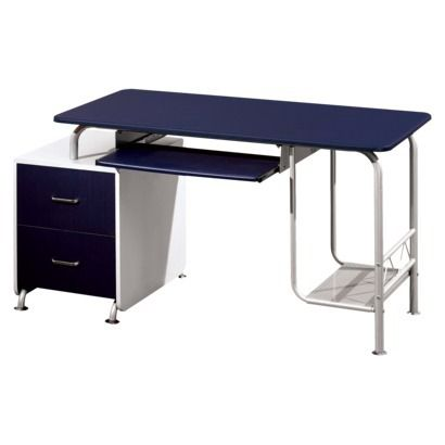 Two-Tone Computer Desk - Blue/ Silver.Opens in a new window