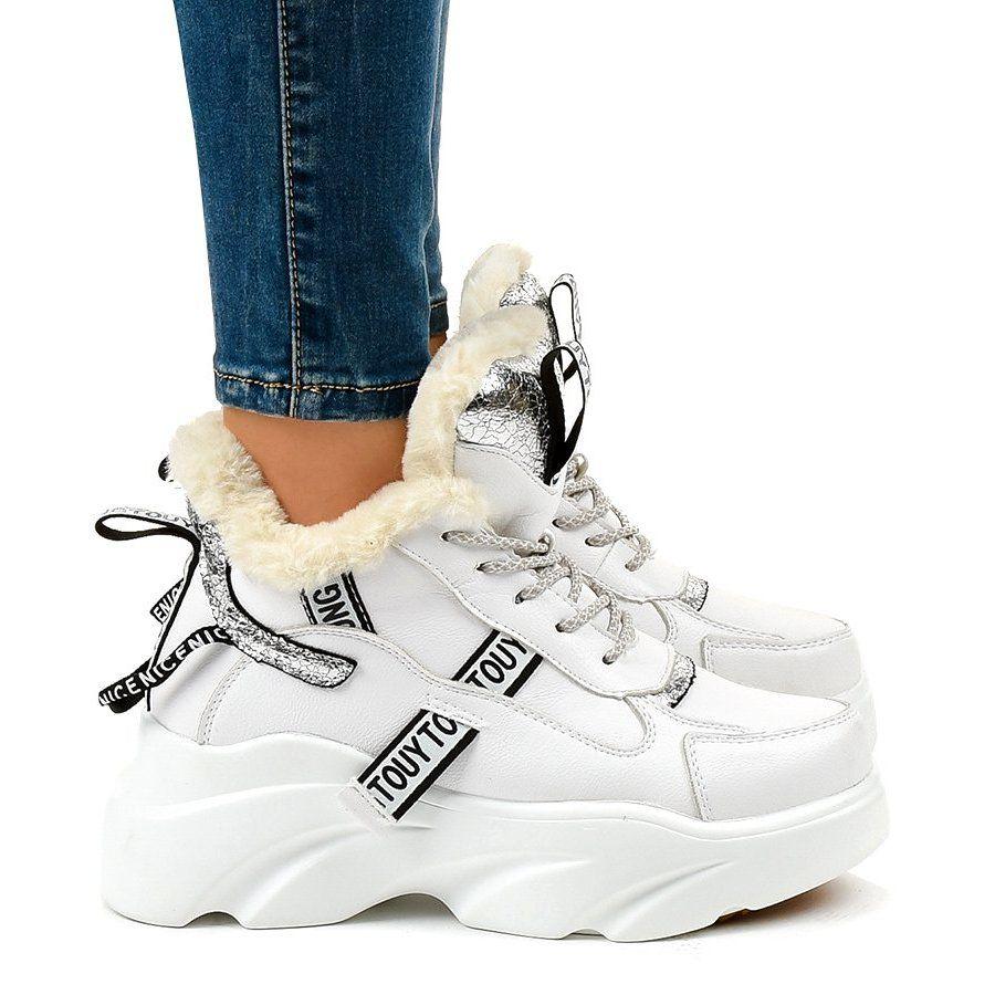 Biale Damskie Sneakersy Ocieplane D80 31 Sneakers Nike Nike Huarache Shoes
