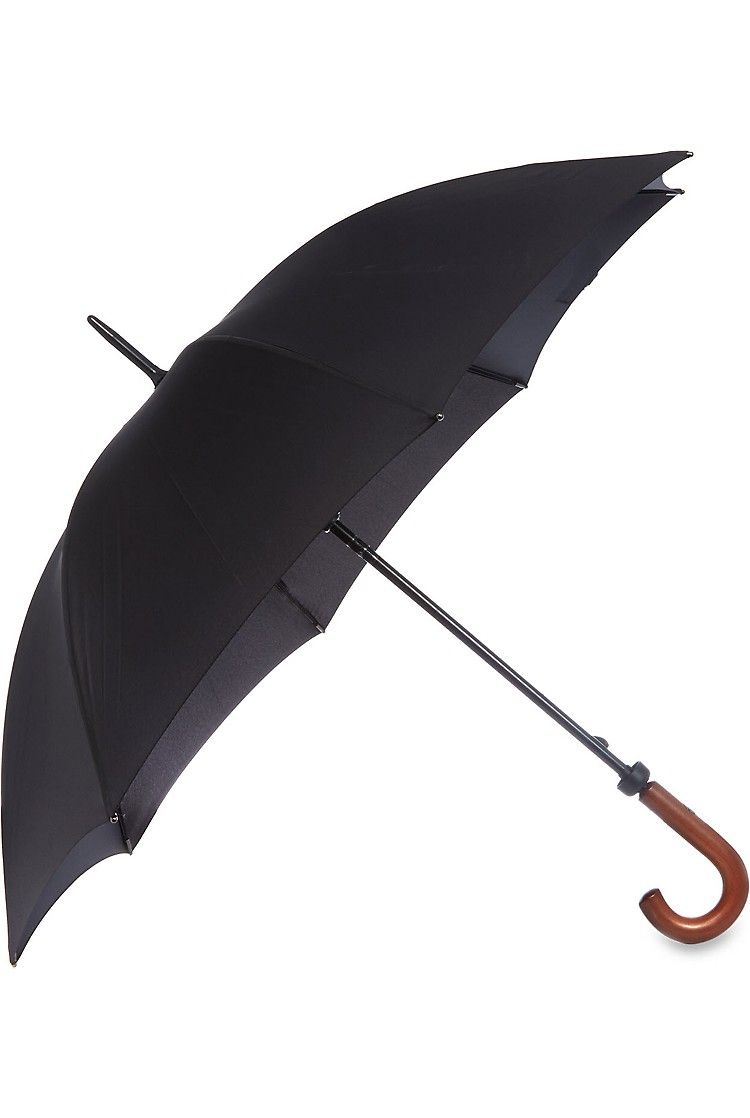 Fulton Stowaway Deluxe Compact Umbrella Real Wood Handle Black High Quality