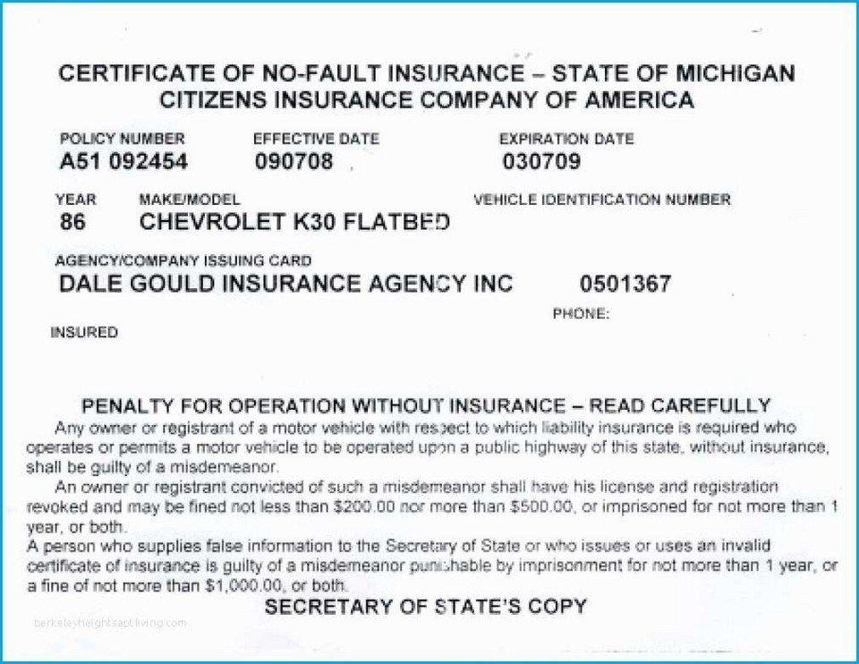 40 Proof of Auto Insurance Template Free Card template