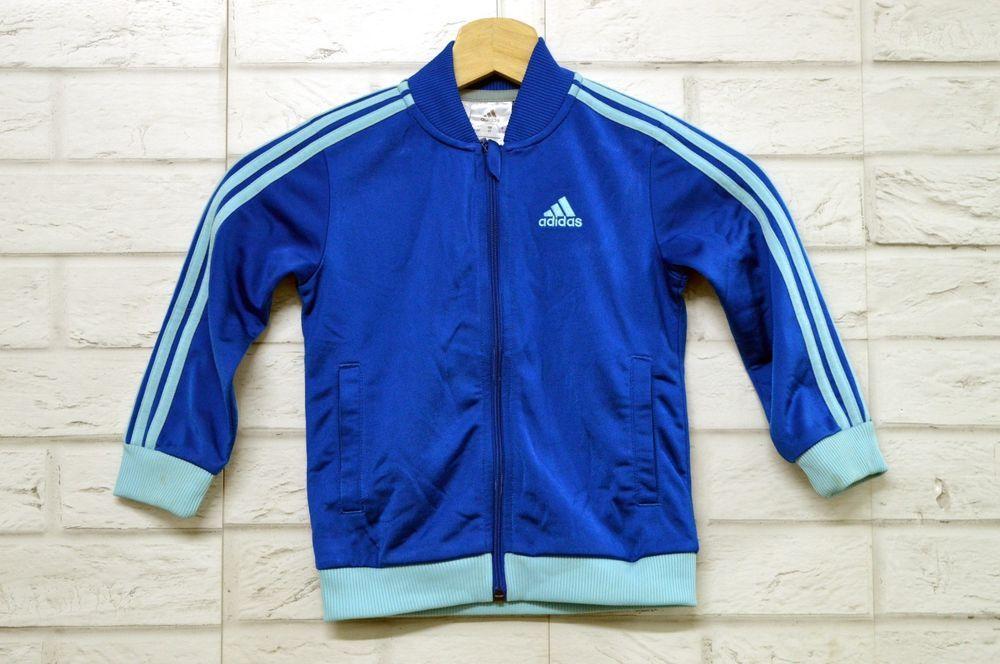 Felpa ADIDAS Bimbo Junior Taglia 2-3 Anni Maglia Shirt Manica Lunga Azzurra 8d515945546c