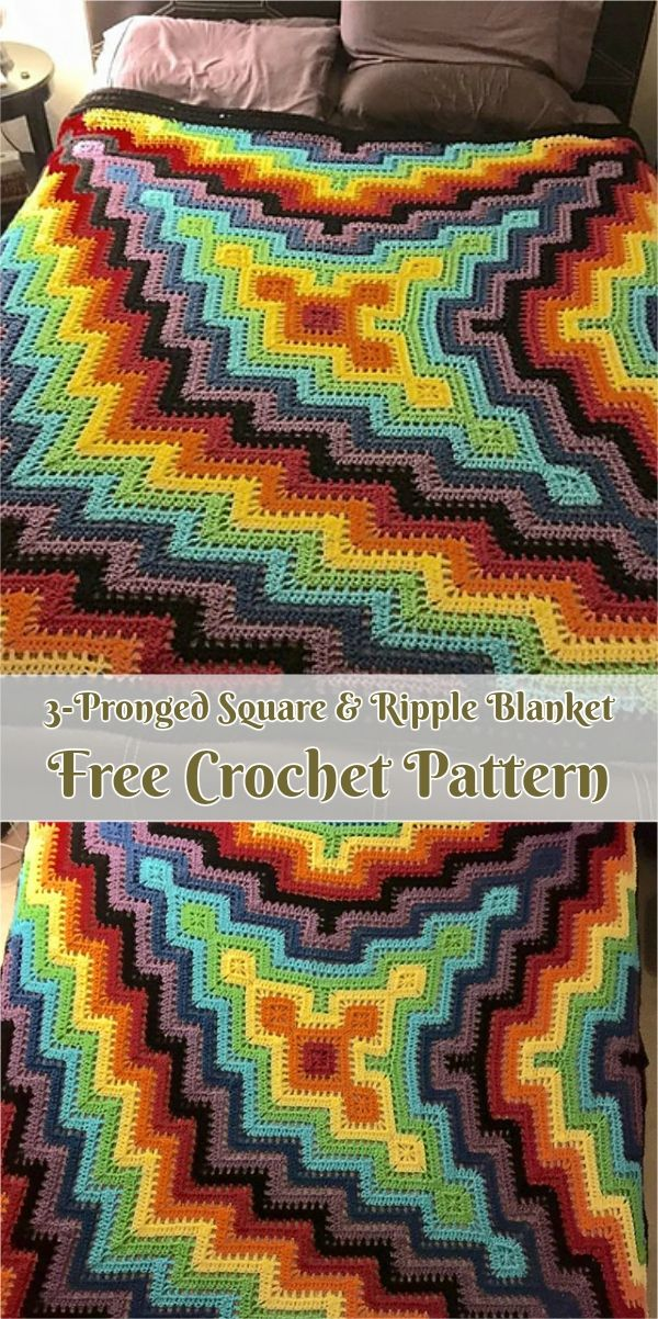 3-Pronged Square & Ripple Blanket [Free Pattern] | Pinterest ...