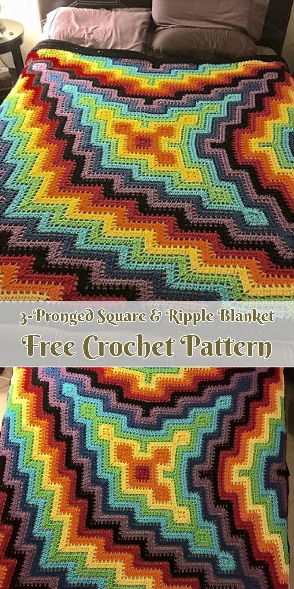 3-Pronged Square & Ripple Blanket [Free Pattern | Decken, Häkeln und ...