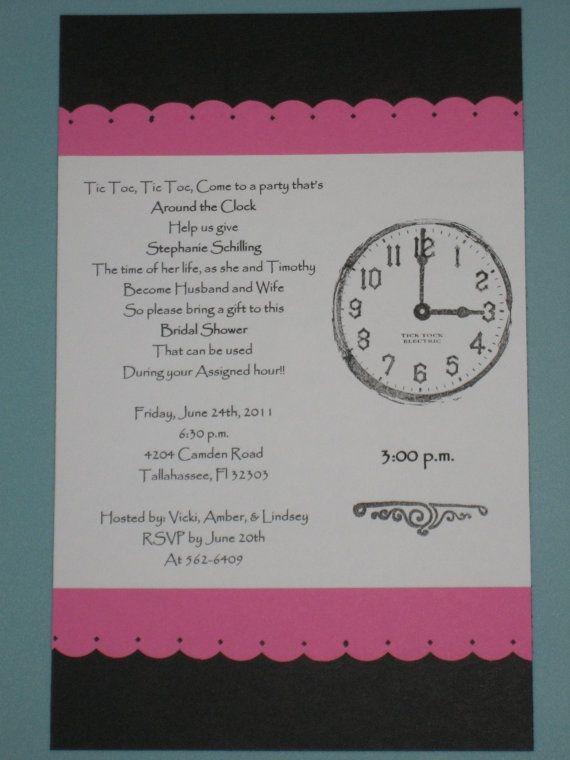 Around The Clock Bridal Shower Theme