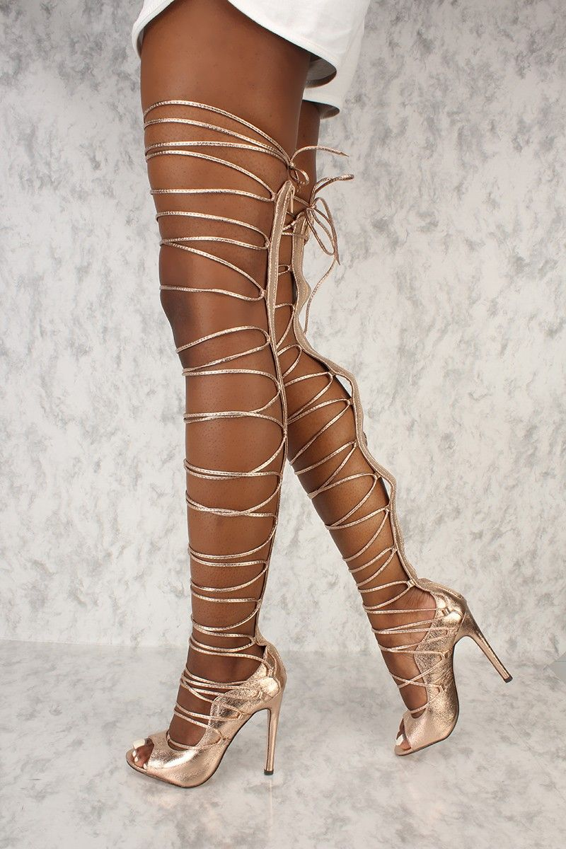 b9b9e87cfe Sexy Rose Gold Strappy Thigh High Single Sole High Heels Metallic Faux  Leather
