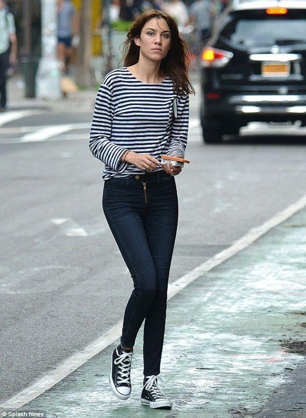 Denim jeans by McGuire denim worn by Alexa Chung.