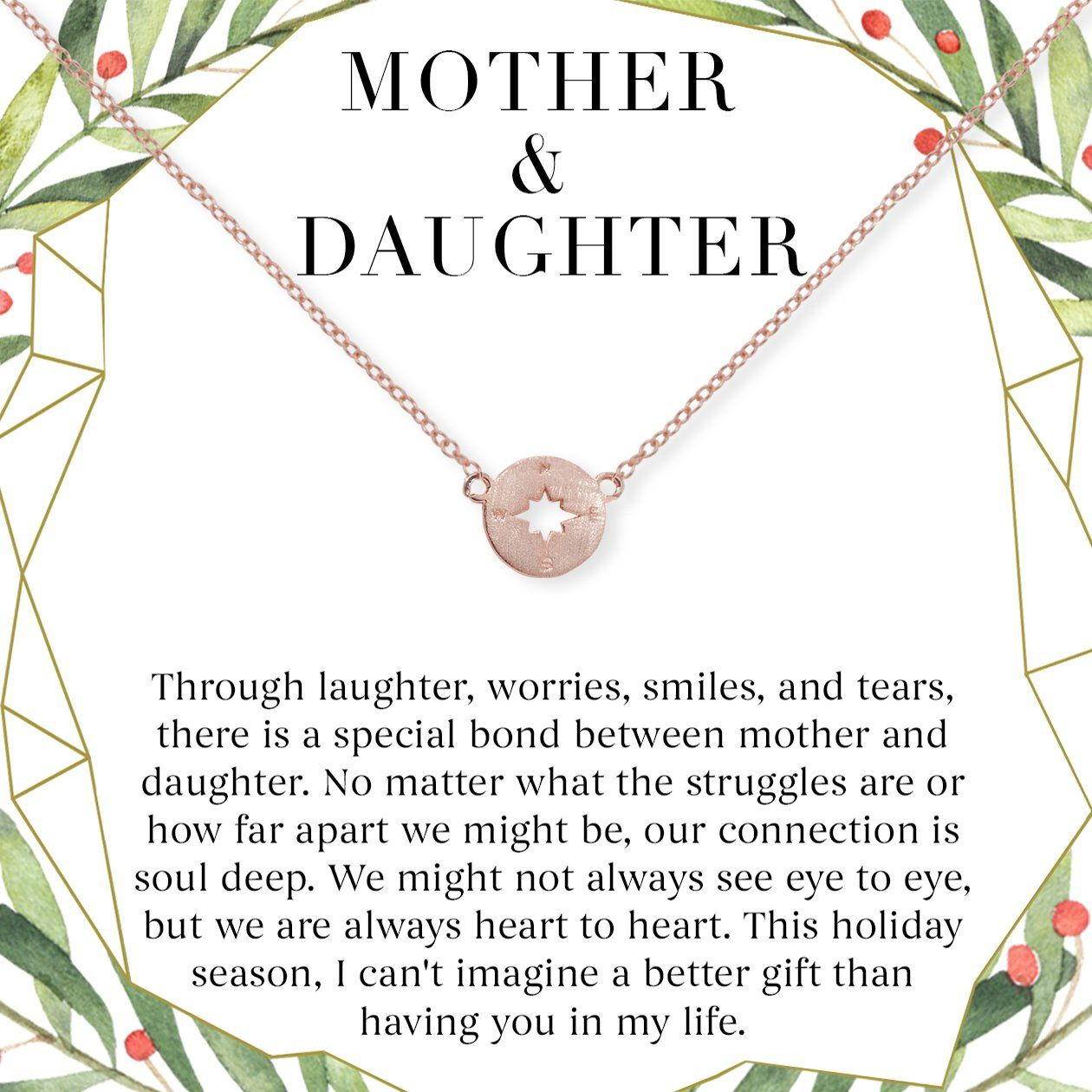 Mother & Daughter Christmas Necklace, Multiple Styles, Compass / Rose Gold