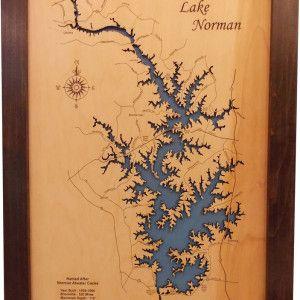Wood Laser Engraved Norman Nc Lake Map Map Wall Hanging Wood Map Laser Engraved Wood