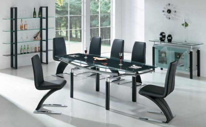 Extendable Black Glass Top Dinette Set And Chairs With Leaf