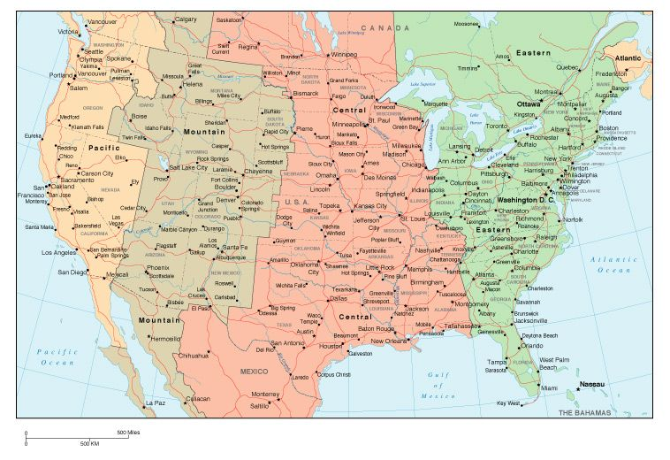 USA Map with Time Zones | Vegas | Pinterest | Time zone map, Time ...