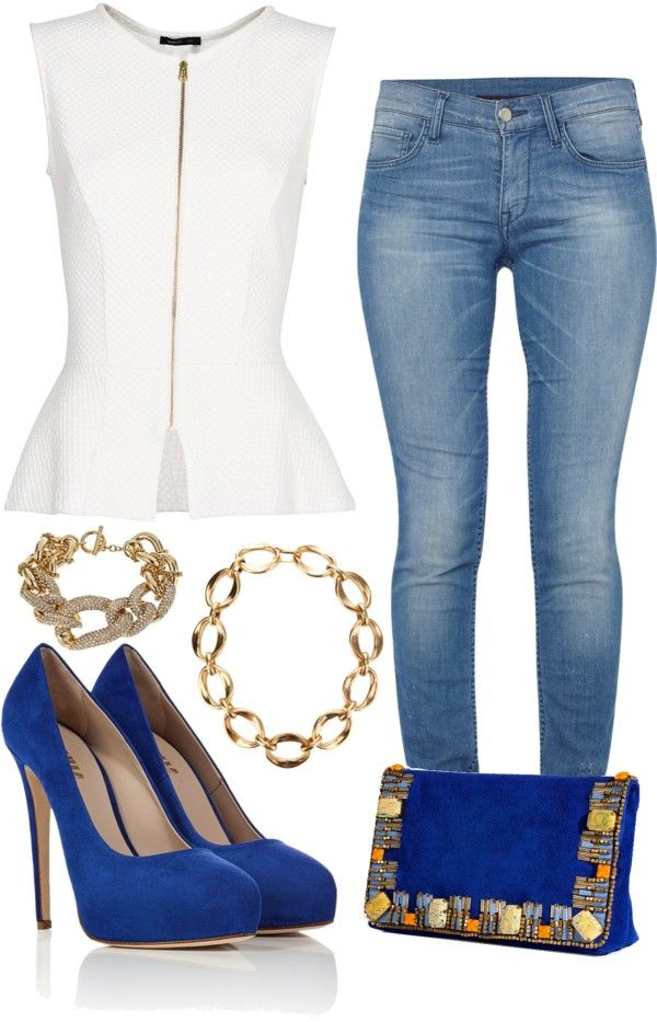 White Peplum Top w Light Wash Jeans & Blue Heels and Clutch
