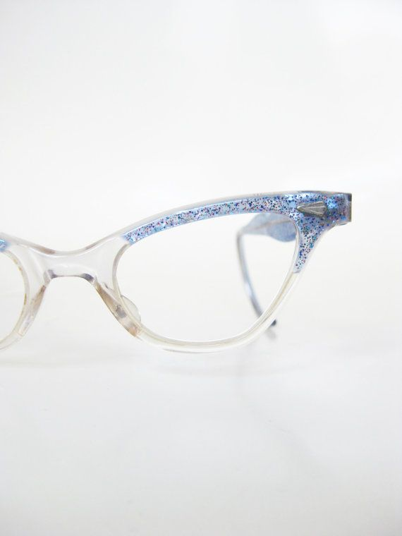3c6b7af7df Vintage 1950s Girls Cat Eye Glasses Blue Sparkles Pastel Princess Pretty  Indie Authentic Graceline Retro 50s Fifties Children s Little Girl