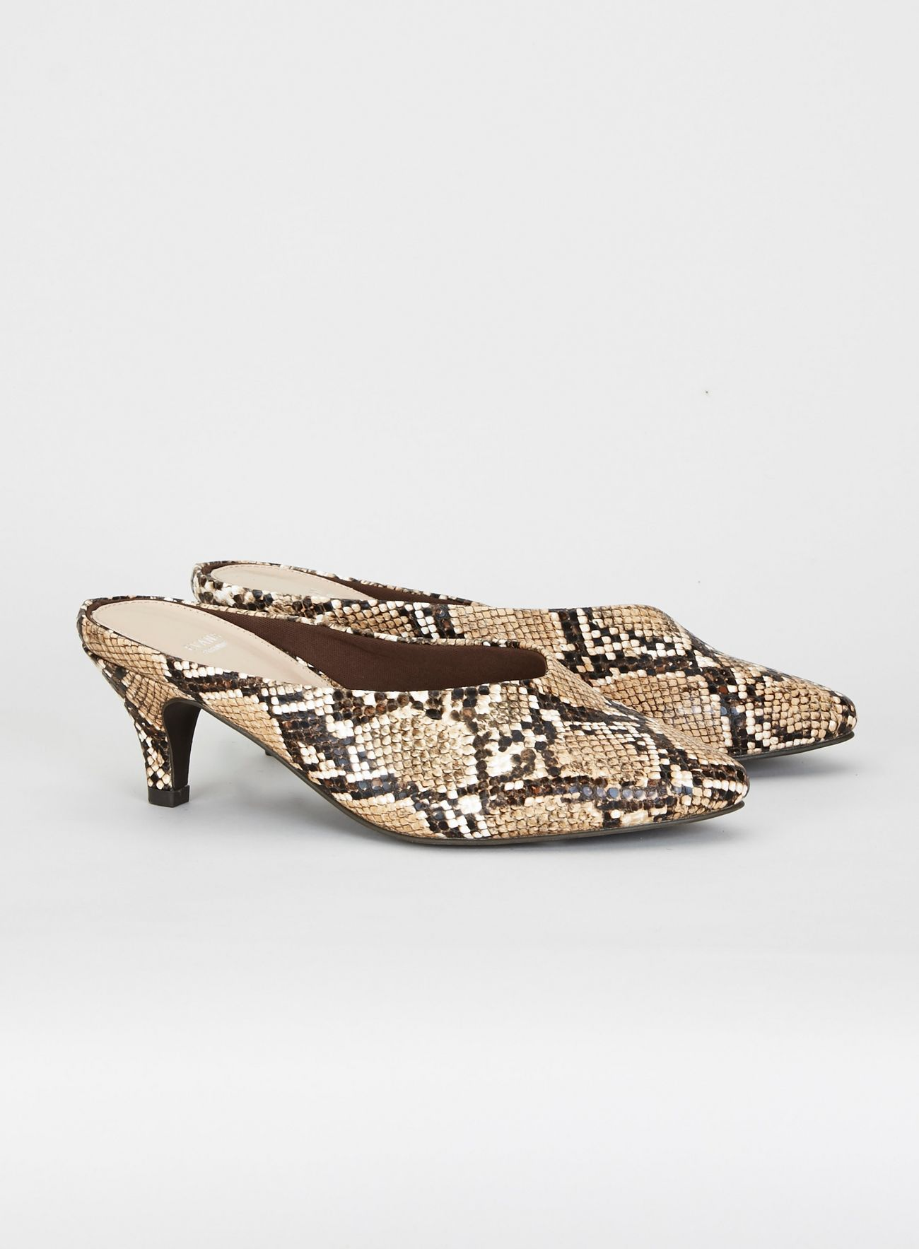 EXTRA WIDE FIT Stone Snake Print Pointed Kitten Heel Mules