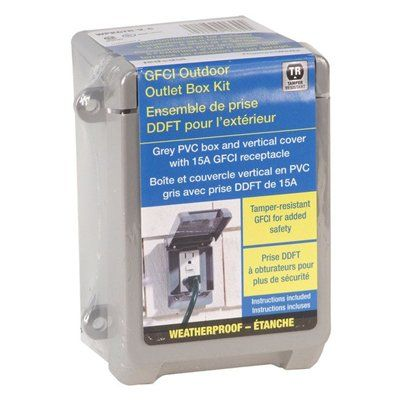 REDDOT Outdoor PVC Weatherproof Box Kit with GFCI Receptacle and Vertical Mount Cover