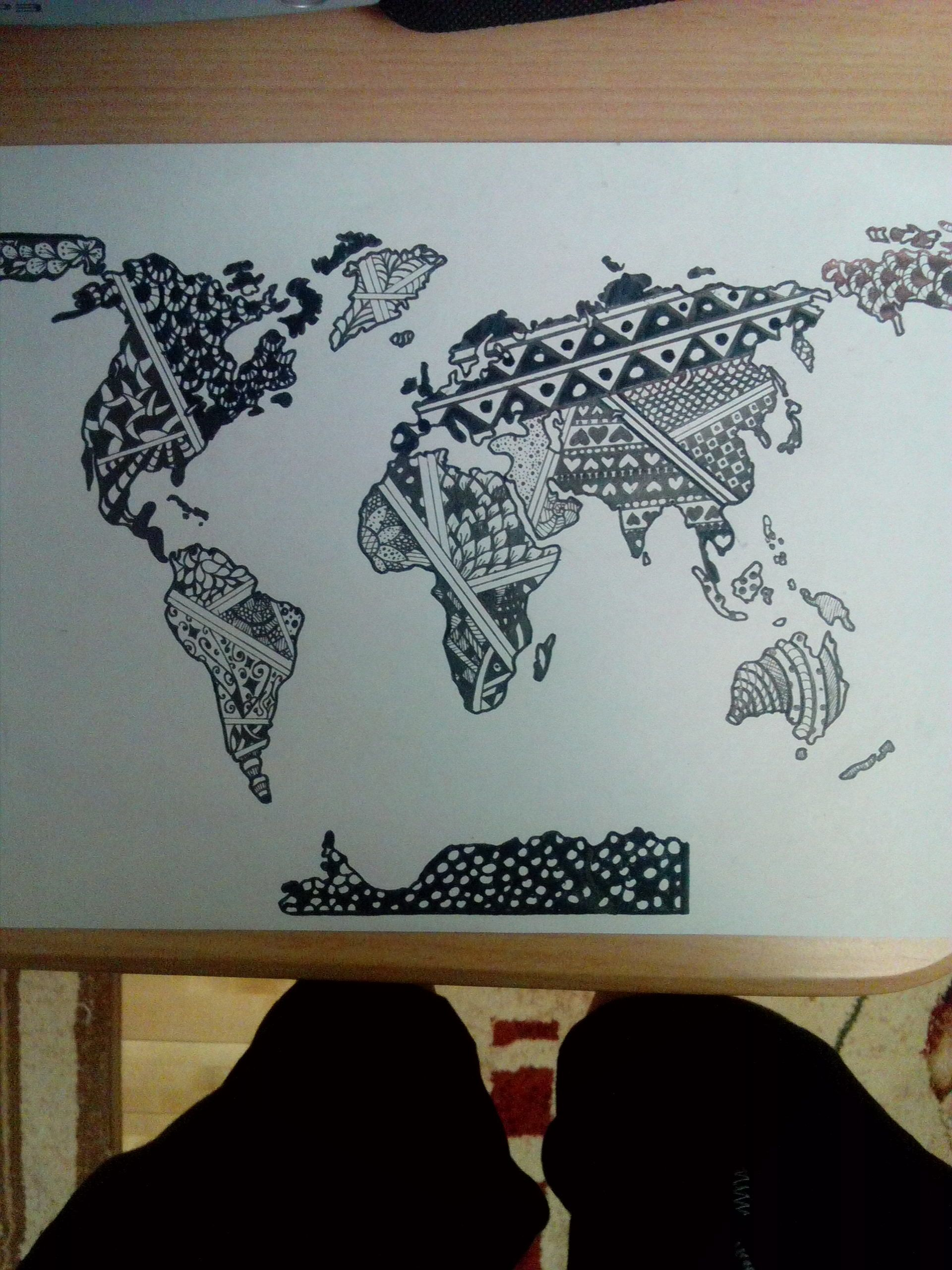 Zentangle map of the world zentangle pinterest mapas y arte zentangle map of the world gumiabroncs Images