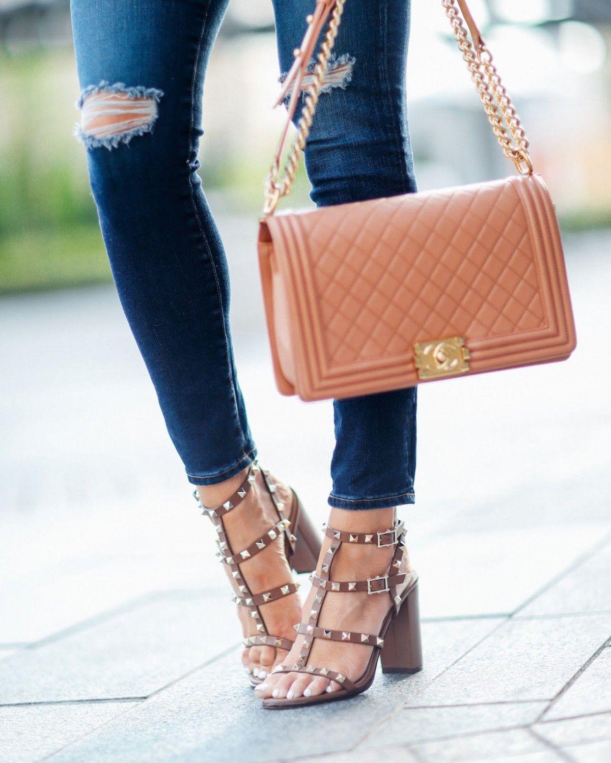 VALENTINO The Rockstud embellished leather sandals - Shoes Post